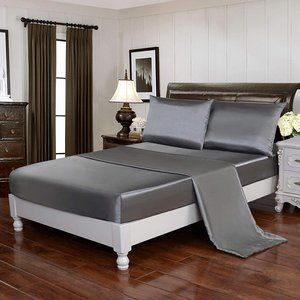 4pcs Silky Soft Luxury Bedding Cover Grey
